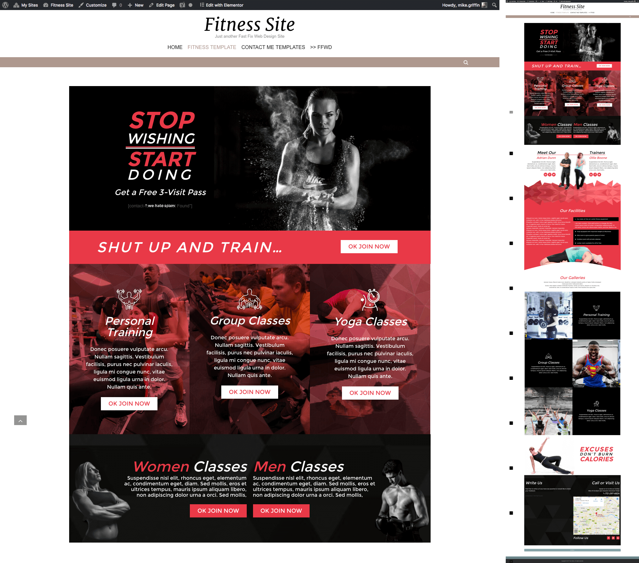 WordPress Pre-Built Fitness Website