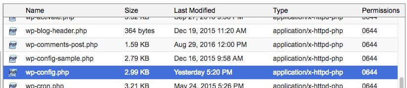Delete the wordpress wp-config file