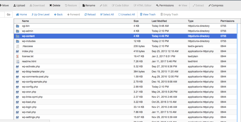 Delete the wp-content folder
