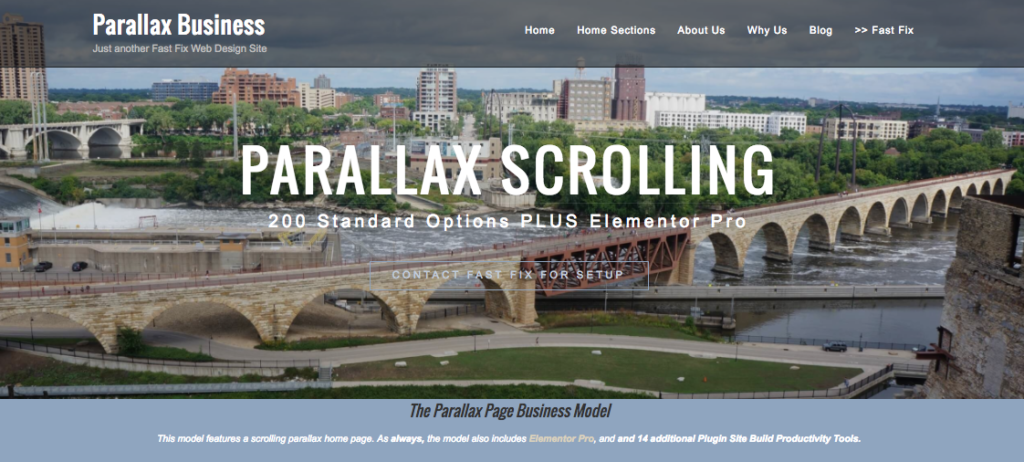 Parallax WordPress Website Model