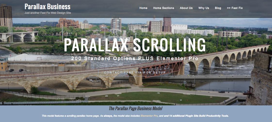 Parallax WordPress Website Model