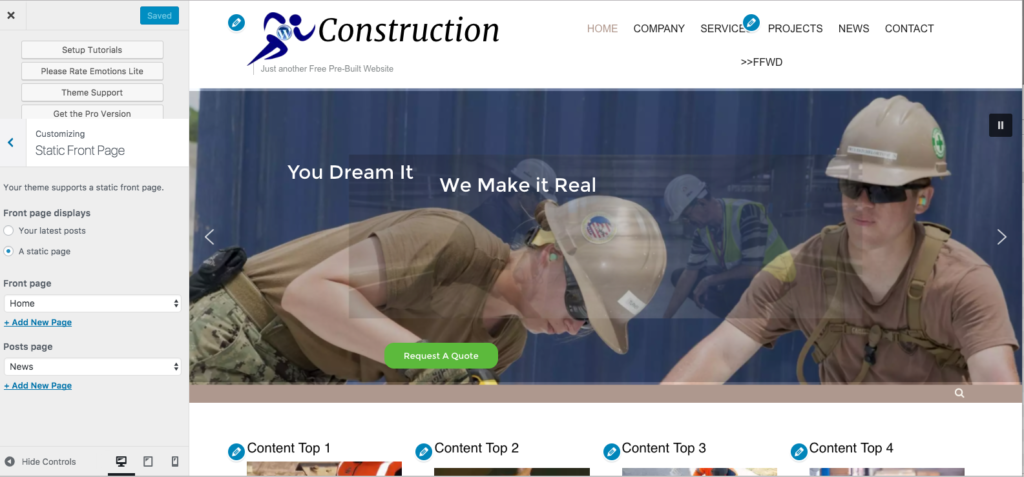 Construction Pre-built Wordpress Website