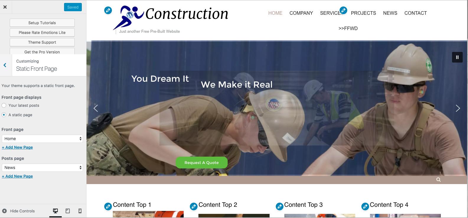 Construction Pre-built Wordpress Website