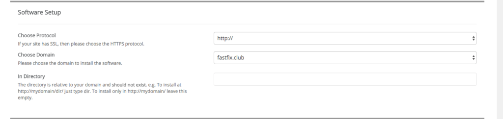 Softaculous WordPress Installation Domain Location Choices