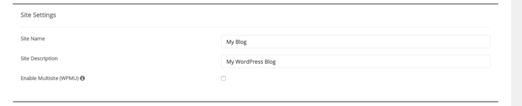 Softaculous WordPress Site Name and Description Input