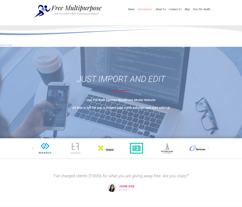 import and then edit our free fast fix web design pre-built websites