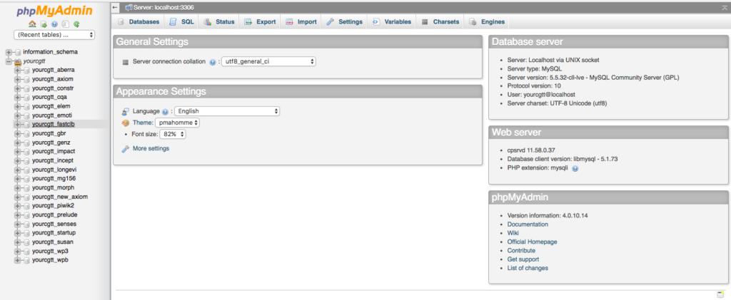phpMyAdmin Initial Login Screen WordPress Model Install