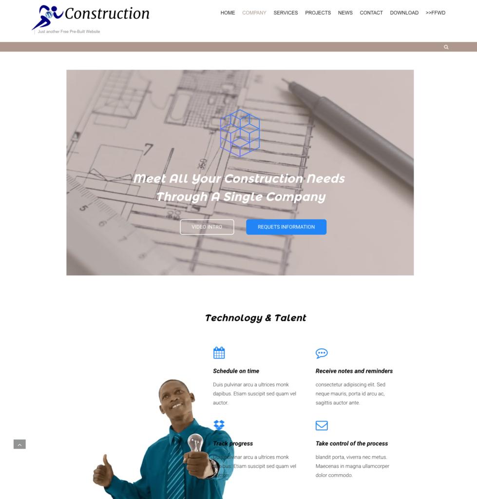pre-built wordpress construction website