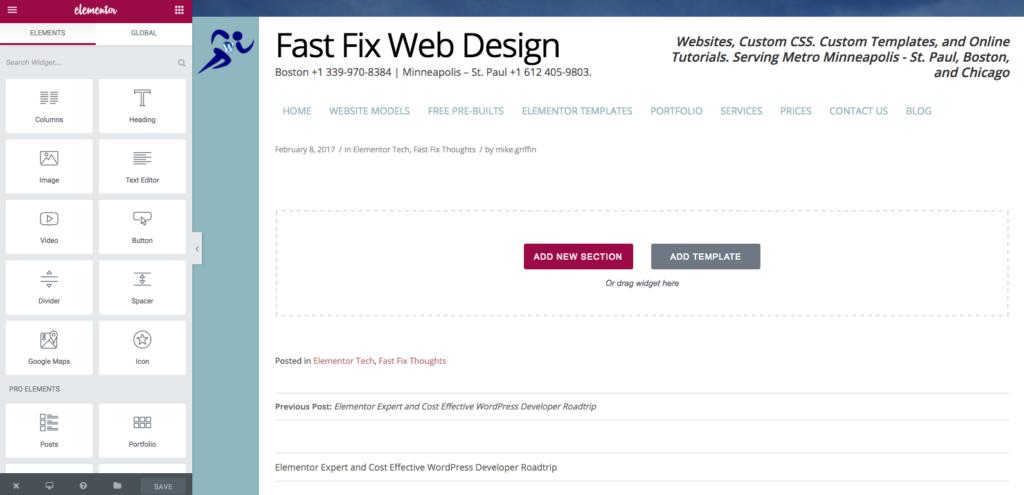 Edit Blog Post Elementor No Sidebars