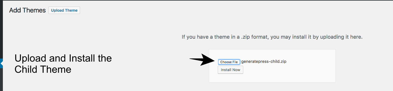 Install The Child Theme