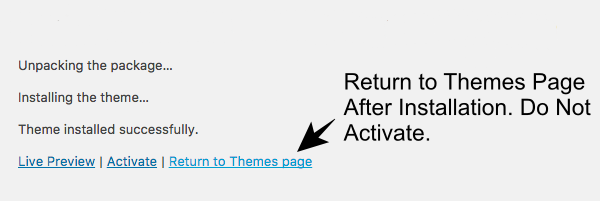 Return to Themes Installation Page