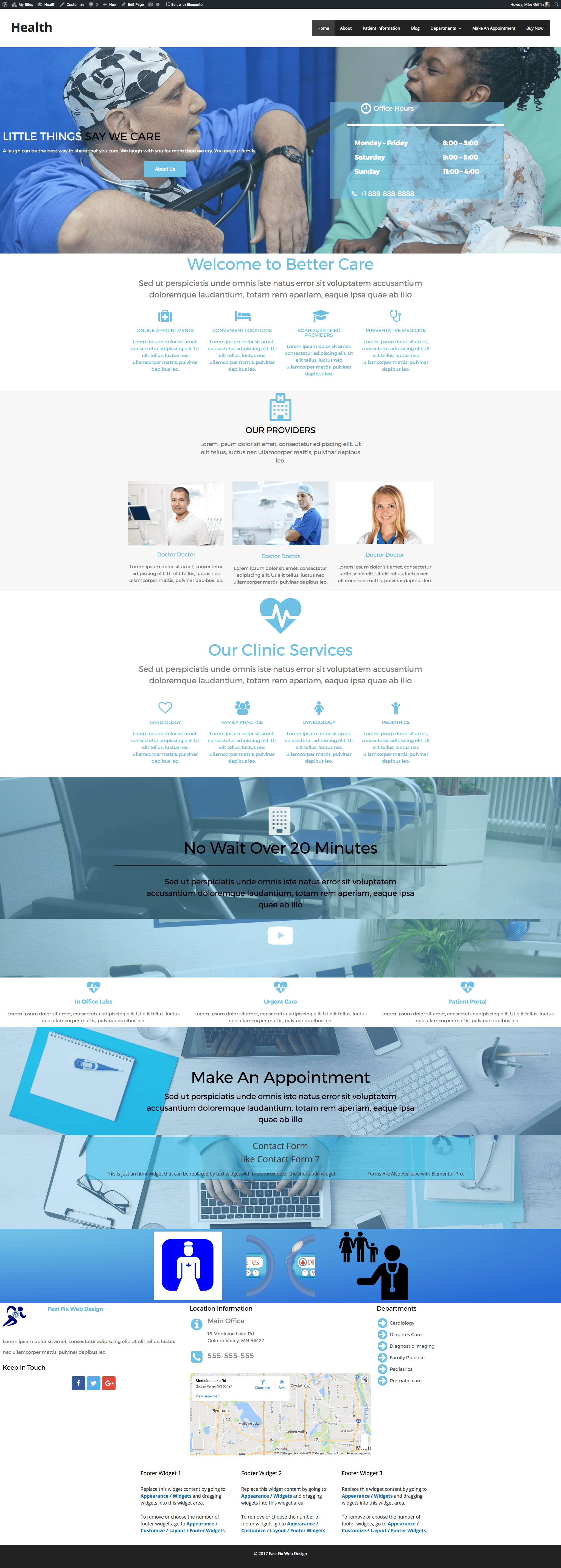 free elementor health care home landing page