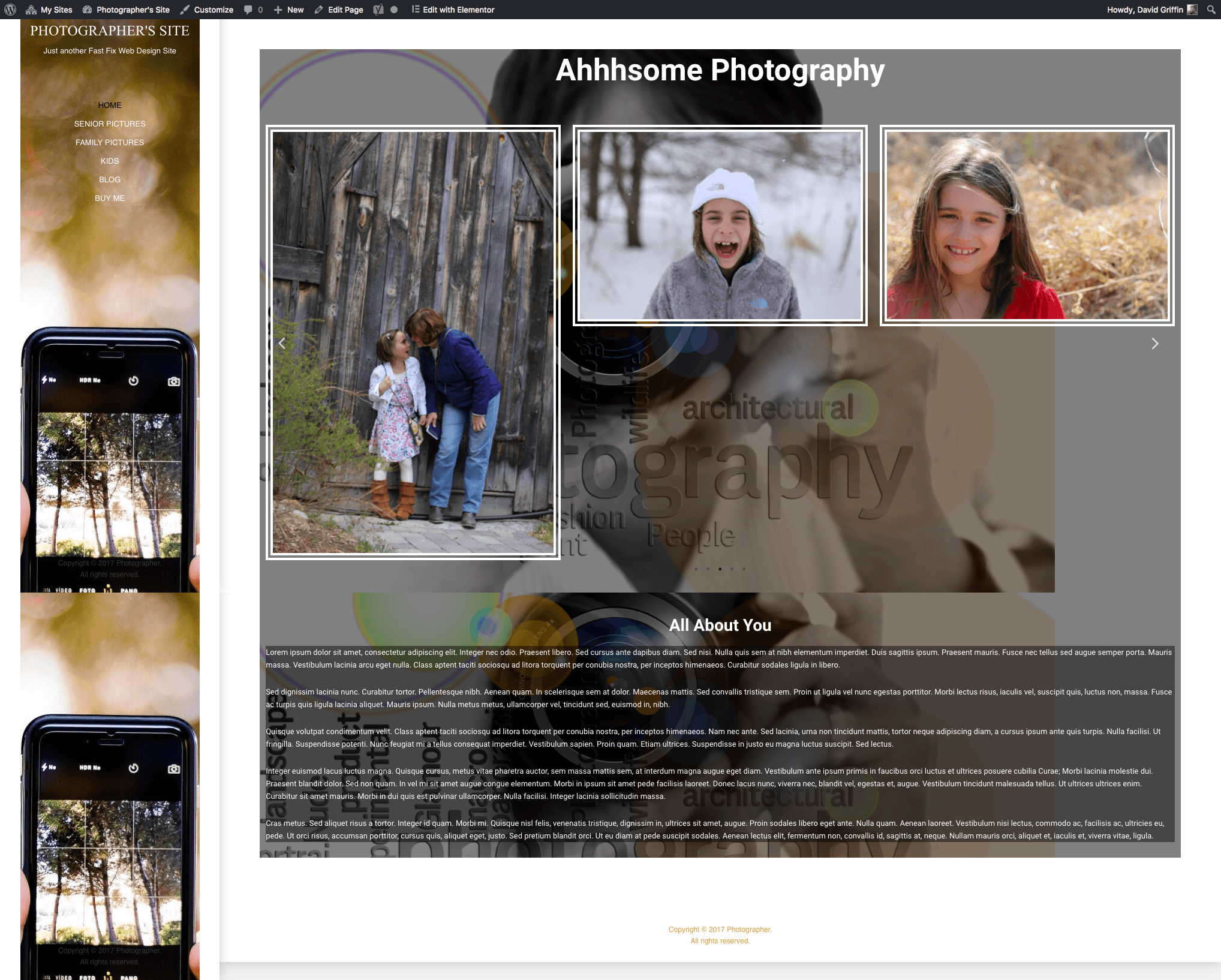1 click elementor photography website