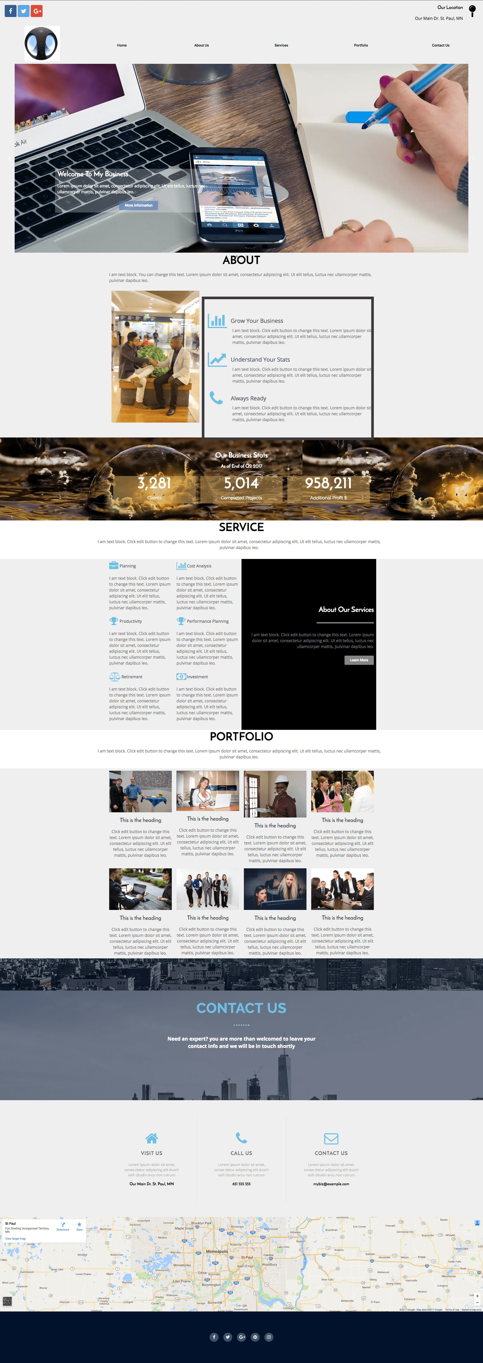 Free One Page Business Site Elementor Template