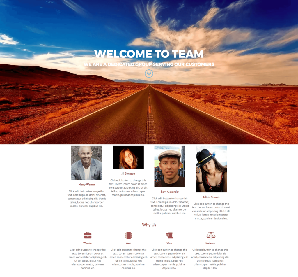Elementor Team Home Page Template