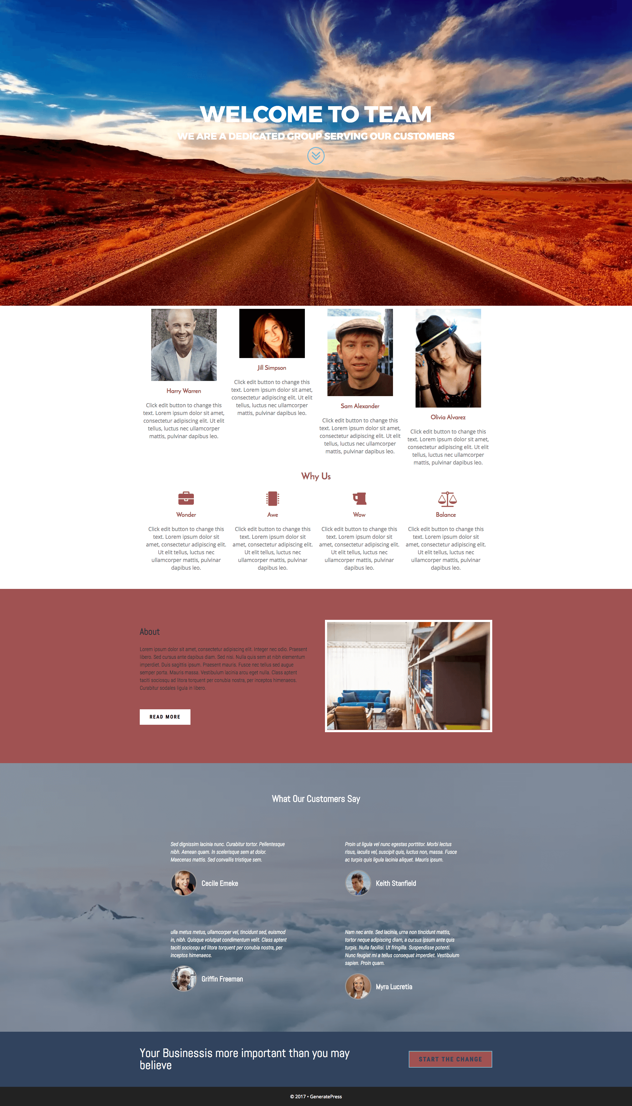 Elementor Team Home Landing Page