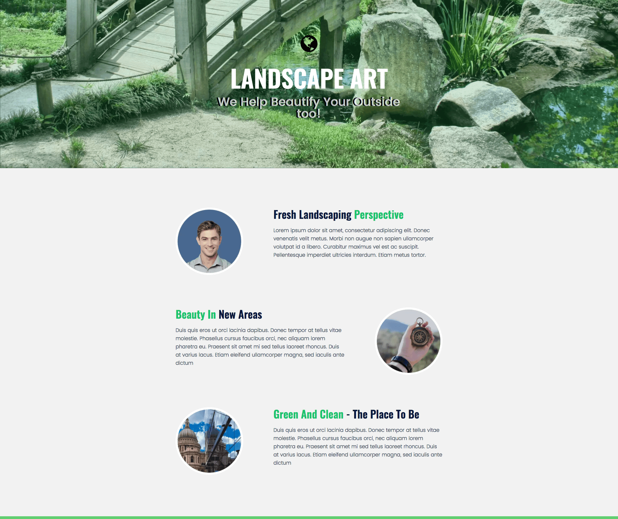 Free Landscaping Landing Page Template