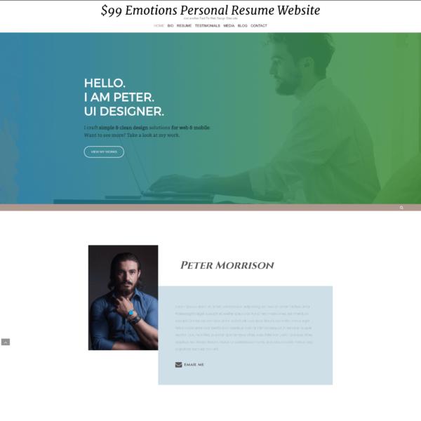 $99 Elementor Pro Personal Resume Website