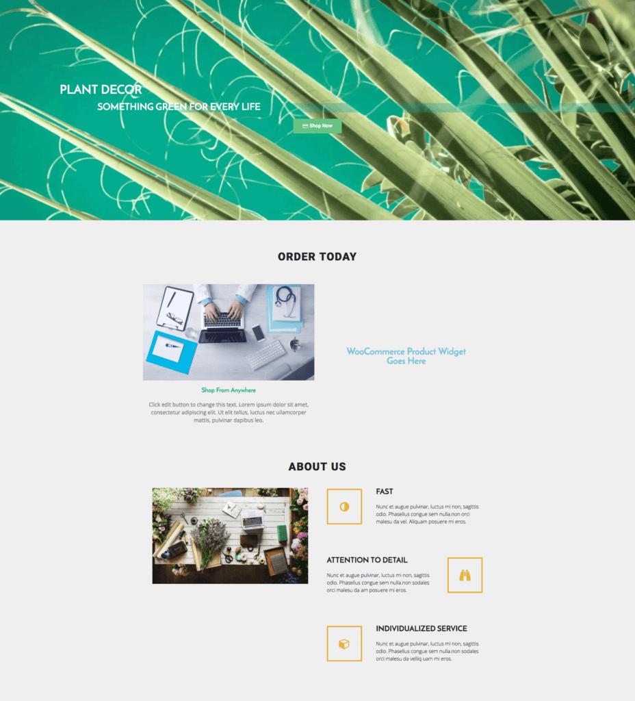 online plant shop free elementor template link