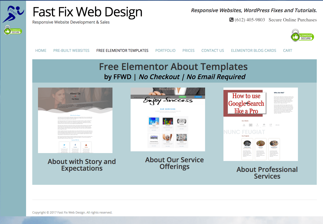 free elementor templates fast fix web design
