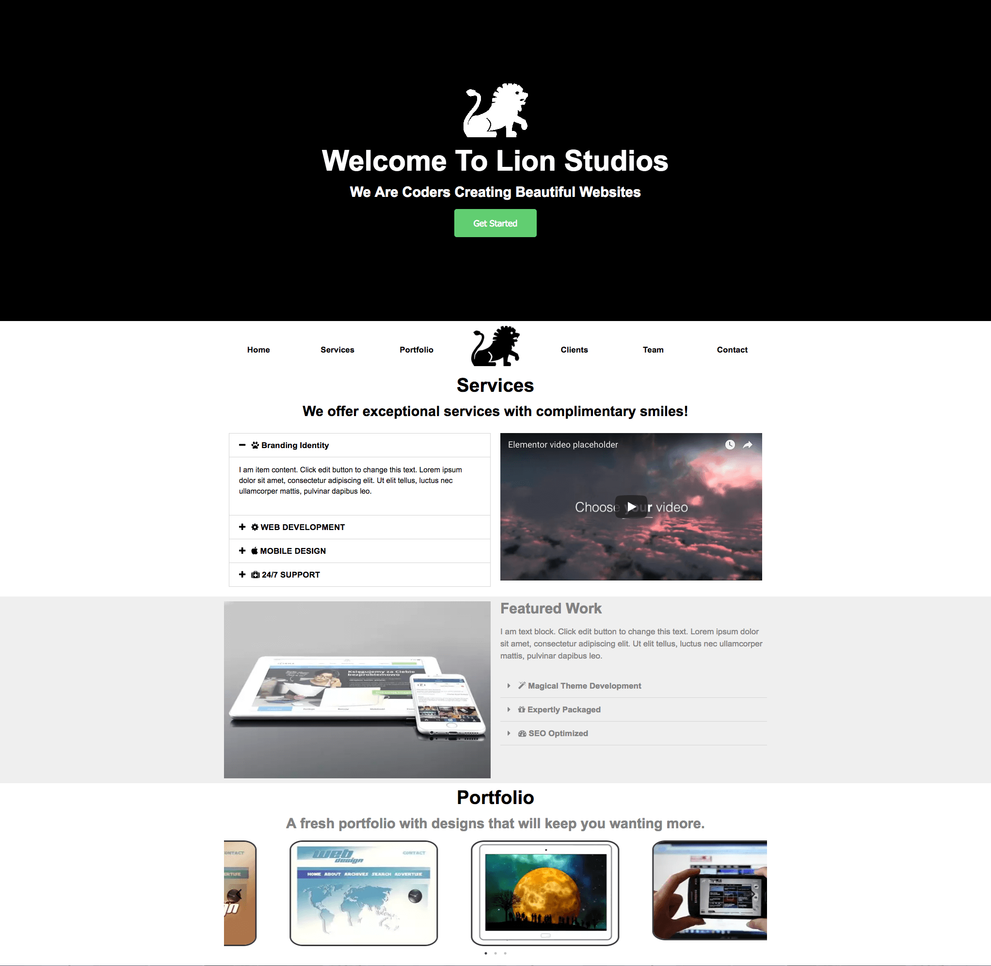Free 1 Page Agency – Studio Website Template