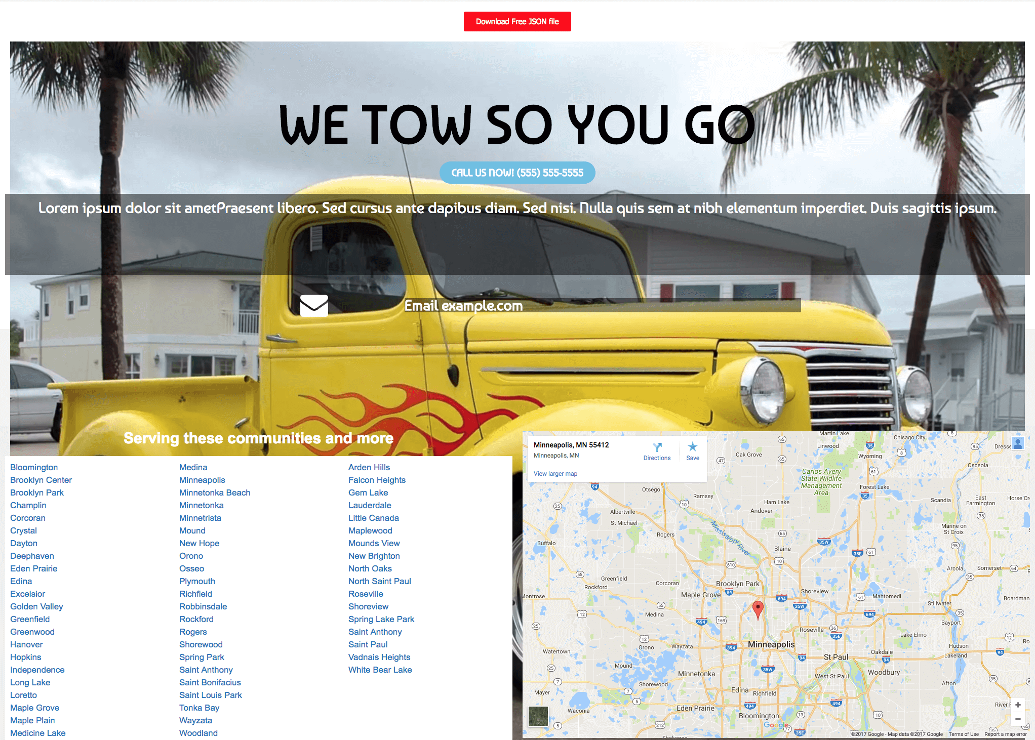 Free 1 Page Towing Service Website Template