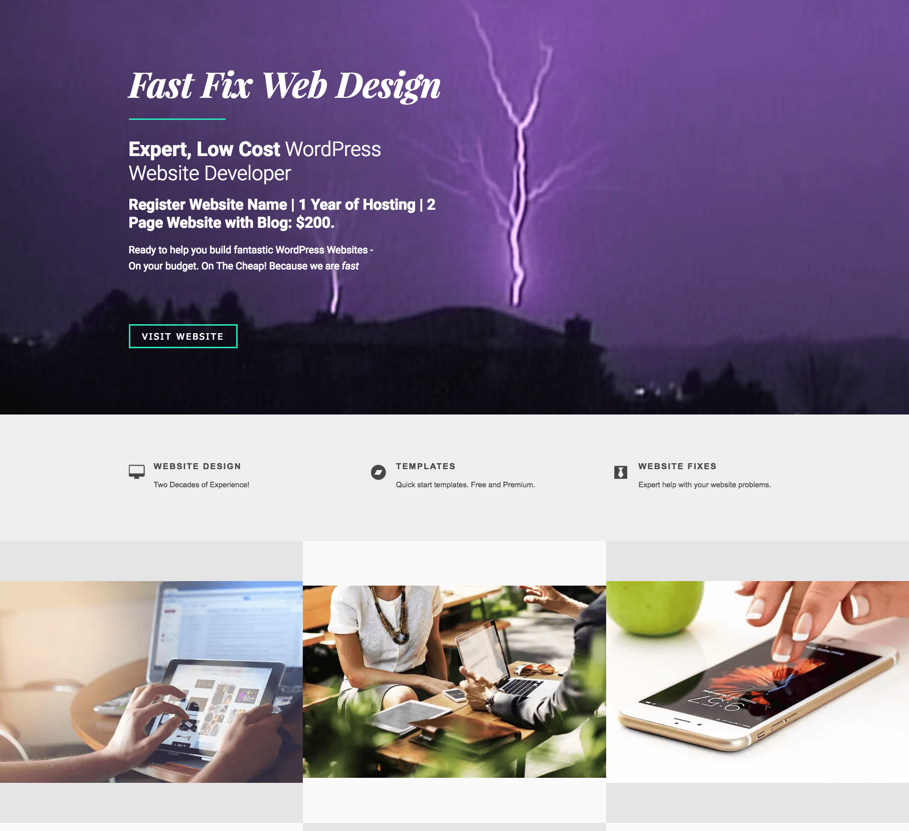Free 1 Page Website Development Template