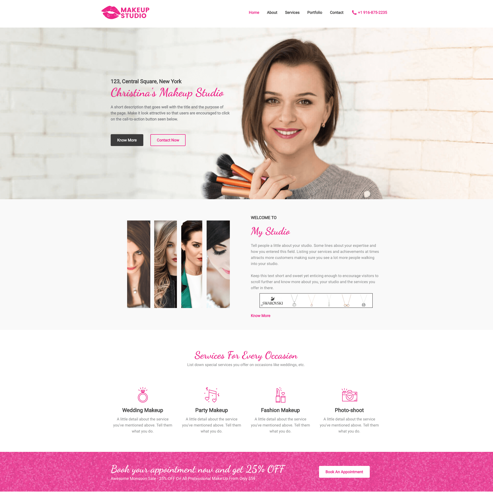 Elementor Astra Service Business Website - Makeup Artist