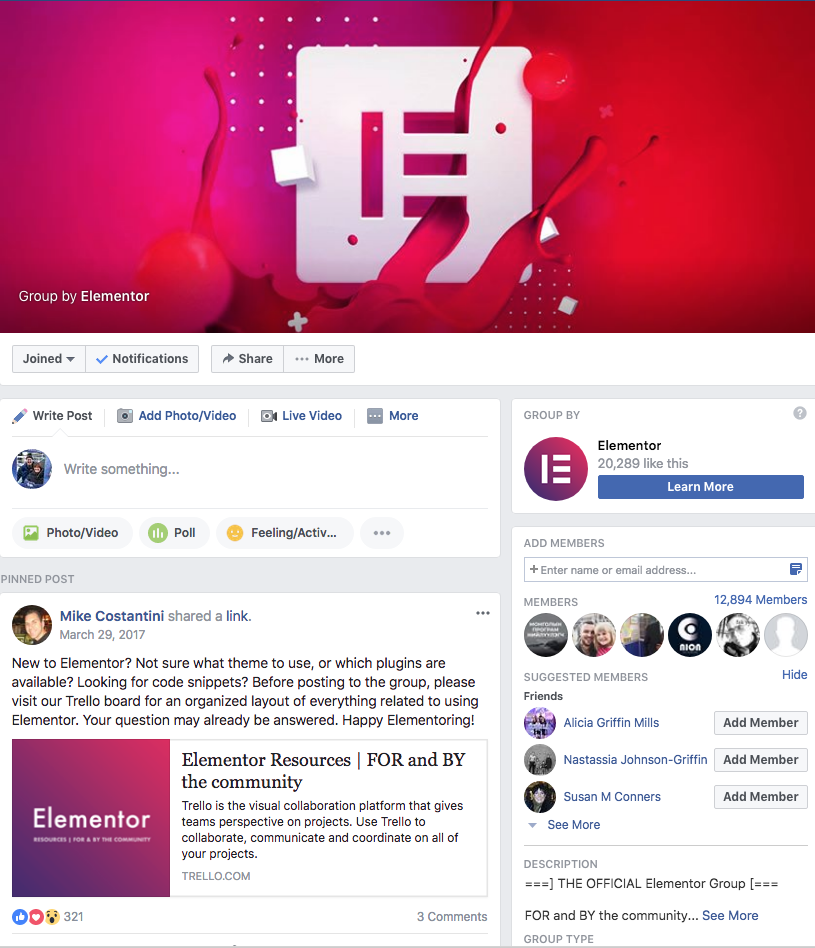 Elementor Group On Facebook