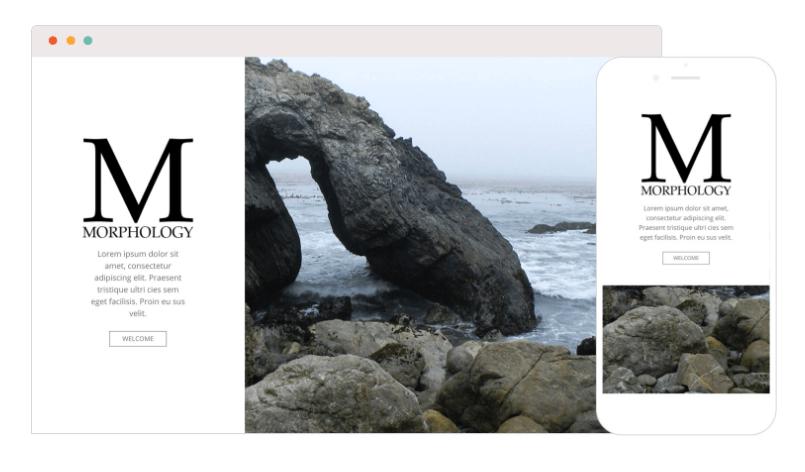 Morphology Theme Splash Landing Page On Mobile