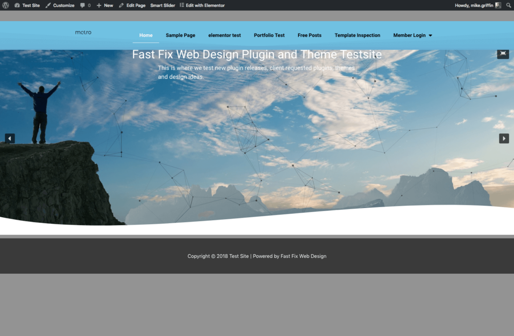 fast fix web design plugin and theme test site