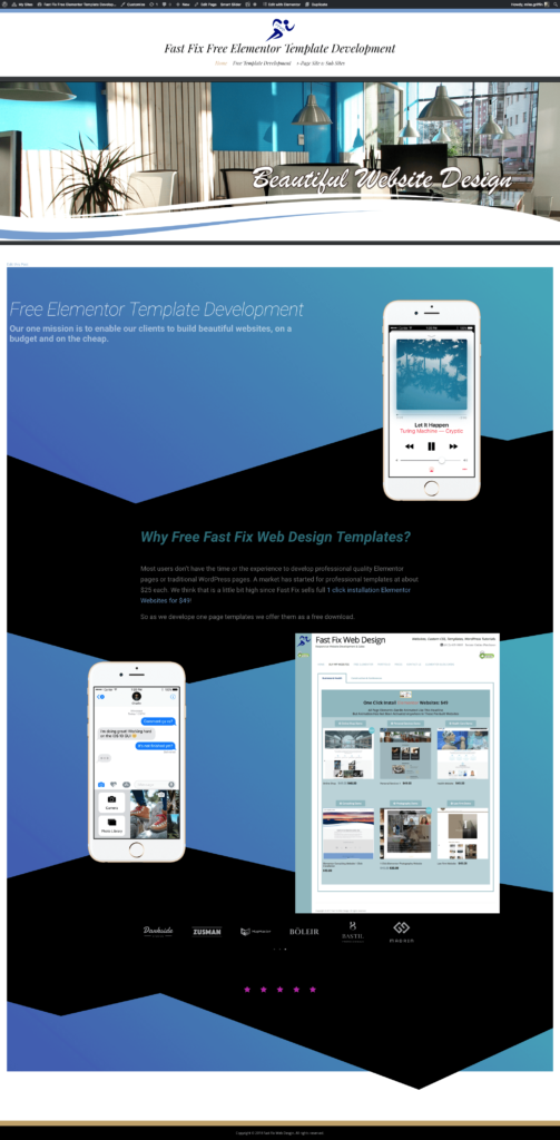 free fast fix web design elementor templates and websites
