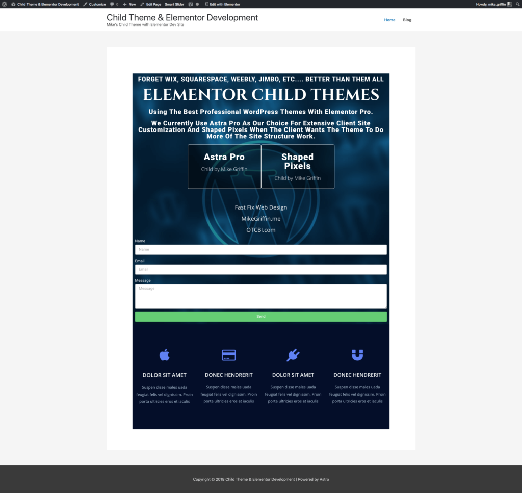 child theme development site