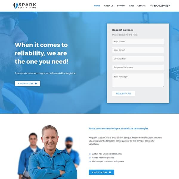elementor electrician website
