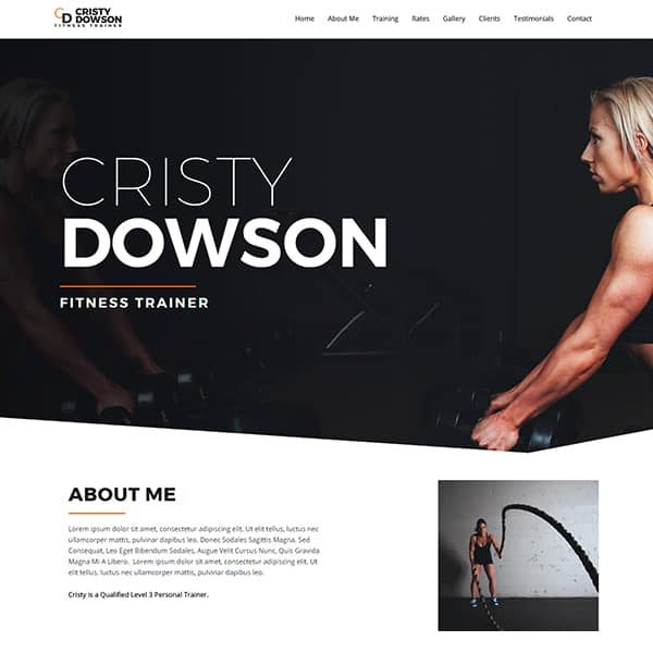 elementor fitness trainer website