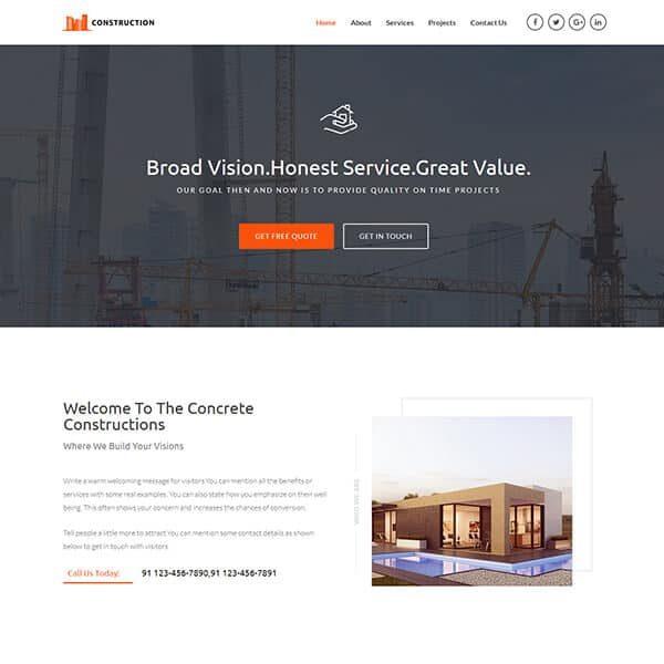 elementor home construction website